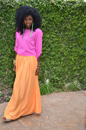 bubble gum Silk blouse - orange Flowy Maxi skirt - chartreuse Lindalu earrings