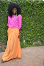 Silk-blouse-flowy-maxi-skirt-lindalu-earrings