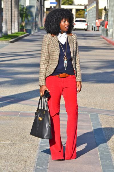 red Corduroys pants - navy Jcrew sweater - tawny plaid blazer