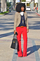 red Corduroys pants - navy Jcrew sweater - tawny plaid blazer
