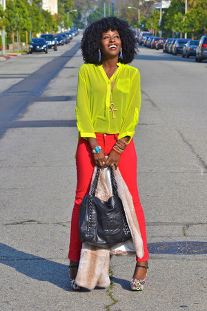 lime green NG shirt - red J Brand jeans