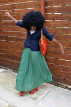 navy Jcrew blazer - chartreuse Lulus skirt
