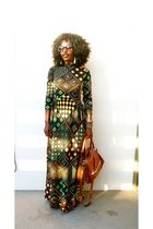 black vintage dress - brown ALCHIMIE bag - white Urban Outfitters shoes