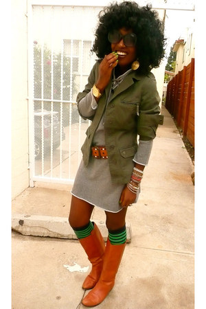 olive green vintage jacket - heather gray sweatshirt dress