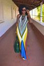 Yellow-aztec-print-dress-blue-aztec-print-dress-red-aztec-print-dress