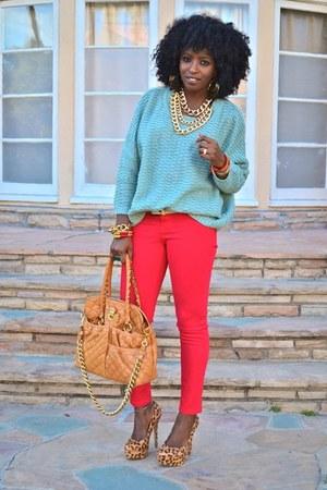 light blue romwe sweater - red Skinny jeans - brown leopard print pumps