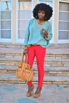 light blue romwe sweater - red Skinny jeans - brown leopard print pumps