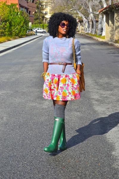 green Hunter Rain boots - carrot orange Zara dress - heather gray Jcrew sweater