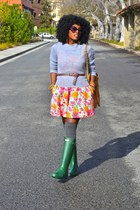 green Hunter Rain boots - carrot orange Zara dress - heather gray Jcrew sweater