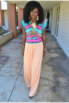 peach vintage maxi dress - aquamarine Tribal Print blouse