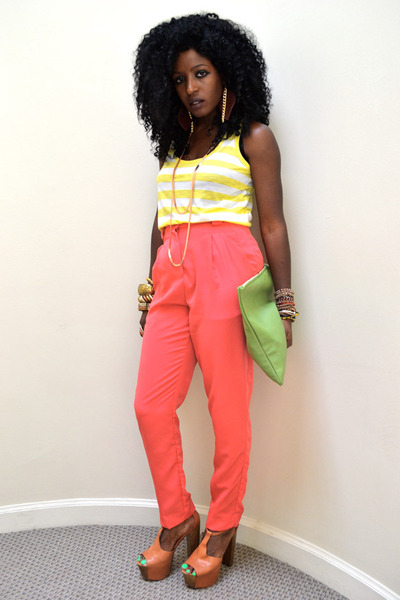chartreuse American Apparel bag - yellow basic top - salmon American Apparel pan