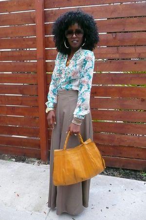 blue Forever 21 shirt - brown skirt - yellow vintage