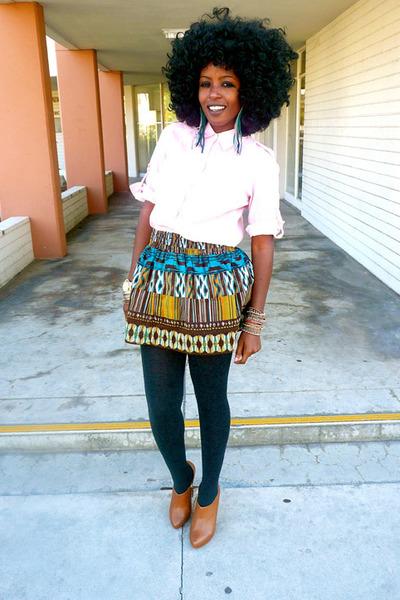 navy banana republic blazer - bubble gum Zara shirt - brown Tribal skirt