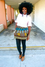 Navy-banana-republic-blazer-bubble-gum-zara-shirt-brown-tribal-skirt