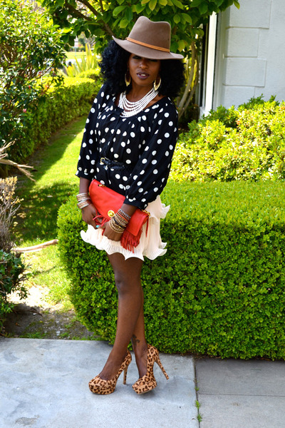 black polka dot blouse - eggshell H&M dress - brown vintage hat