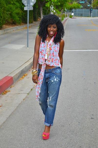 red polka dot pumps - blue boyfriend jeans - heather gray Floral chiffon blouse