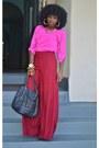 Black-tov-leather-jacket-bubble-gum-zara-blouse-red-wide-leg-pants