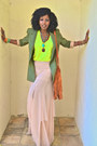 Olive-green-elizabeth-and-james-blazer-chartreuse-zara-top-peach-asos-skirt