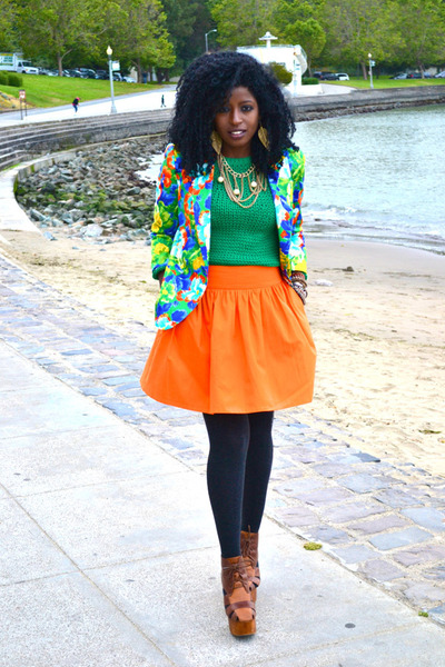 green knit sweater - aquamarine floral blazer - carrot orange flounce skirt