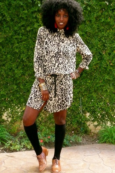 beige Leopard boyfriend shirt shirt - brown oxfords shoes