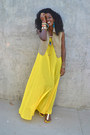 Yellow-chiffon-american-apparel-dress-olive-green-linen-the-limited-vest