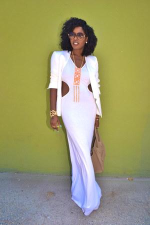 white Nasty Gal dress - white Zara blazer