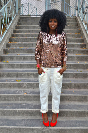 light brown Rose gold sequin blouse - ivory Harem pants