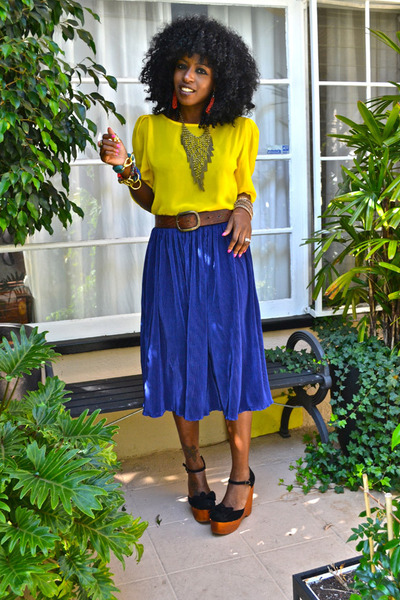 blue accordion American Apparel skirt - yellow chiffon American Apparel blouse