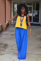 yellow Vintage Gym t-shirt - blue sheer diy skirt - red polka dot clogs
