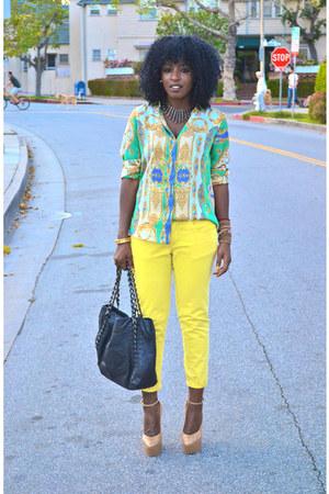 yellow Zara pants - chartreuse scarf print Zara shirt