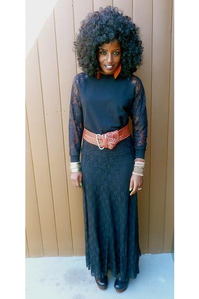 black lace sweater - black lace skirt