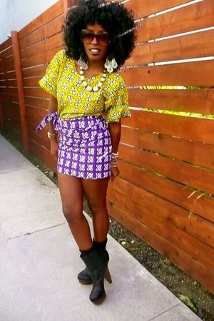 yellow Ituen Basi blouse - purple Ituen Basi skirt