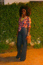 blue london jean jeans - red hollister shirt - brown H&M