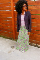 navy Jcrew blazer - chartreuse vintage dress - white Converse shoes