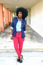 sky blue Target shirt - red Zara pants