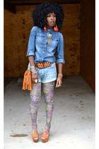 blue H&M shirt - heather gray Urban Outfitters tights - blue vintage DIY shorts