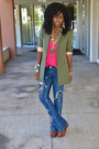 Blue-diy-ripped-levis-jeans-olive-green-elizabeth-james-blazer