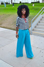 Turquoise-blue-palazzo-pants-heather-gray-crop-nasty-gal-top