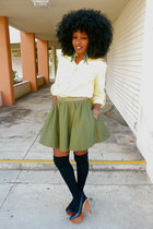 yellow Zara shirt - olive green H&M skirt