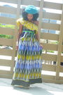 Blue-free-people-hat-yellow-kemkemstudio-dress-green-vintage-belt