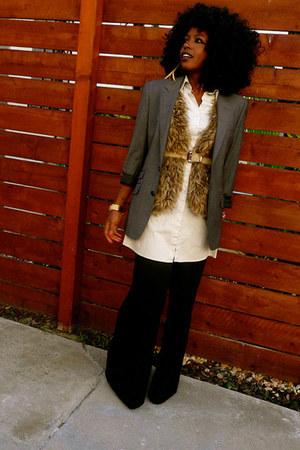 gray mens blazer - eggshell mens shirt - black vintage pants