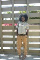 green Zara shirt - brown Victorias Secret pants - brown Zara clogs shoes