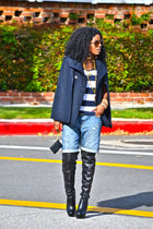 navy romwe cape - black Over the knee boots - blue boyfriend shorts