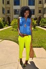 Yellow-neon-jeans-blue-sleeveless-denim-shirt