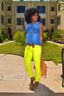 Yellow-neon-jeans-blue-sleeveless-denim-shirt