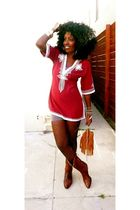red WeWe Clothing Tunic top - brown Vintage boots boots - brown