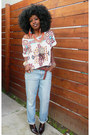Light-blue-boyfriend-jeans-off-white-tribal-blouse