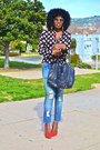 Sky-blue-seven7-jeans-white-db-blazer-black-polka-dot-blouse-red-dv-pumps