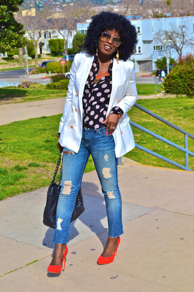 sky blue Seven7 jeans - white db blazer - black polka dot blouse - red DV pumps