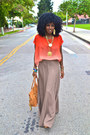 Carrot-orange-romwe-blouse-tan-maxi-skirt